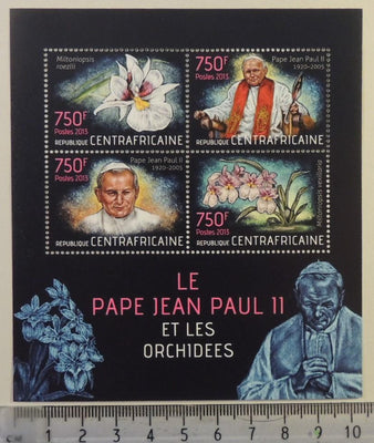 Central African Republic 2013 pope john paul ii orchids flowers religion m/sheet mnh