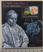 Central African Republic 2013 pope john paul ii orchids flowers religion s/sheet mnh