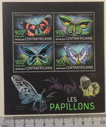 Central African Republic 2013 insects butterflies m/sheet mnh