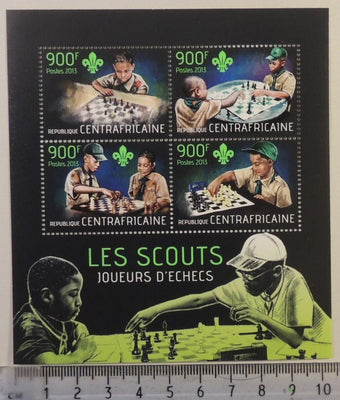Central African Republic 2013 scouts children chess m/sheet mnh