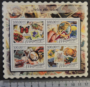 Mozambique 2016 stamp on stamp philatelic butterflies cats crabs birds flowers m/sheet mnh