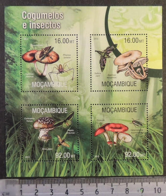 Mozambique 2013 mushrooms fungi insects butterflies beetles spiders m/sheet mnh