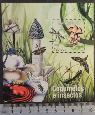 Mozambique 2013 mushrooms fungi insects butterflies beetles spiders s/sheet mnh