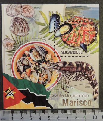 Mozambique 2013 shellfish marine life food mussels lobster flags s/sheet mnh