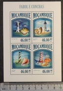 Mozambique 2013 lighthouses and shells marine life m/sheet mnh