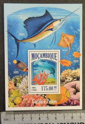 Mozambique 2013 coral fish swordfish ray marine life s/sheet mnh