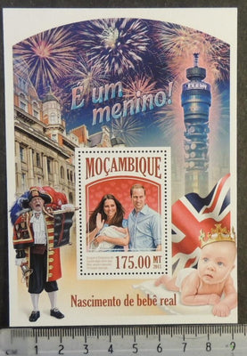 Mozambique 2013 royal baby george william kate roylaty flags post office tower s/sheet mnh