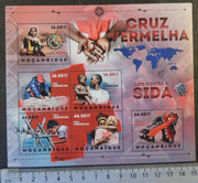 Mozambique 2012 red cross fight against aids children women maps m/sheet mnh