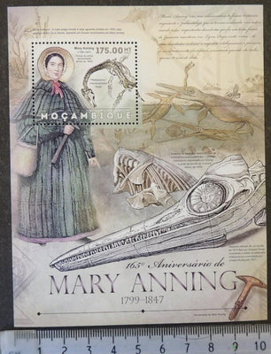 Mozambique 2012 mary anning women dinosaurs prehistoric palaeontologist fossils s/sheet mnh