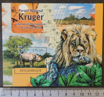 Mozambique 2012 kruger national park lions rhinos maps animals s/sheet mnh