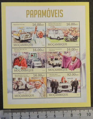 Mozambique 2013 popemobile vehicles benedict john paul ii transport religion m/sheet mnh