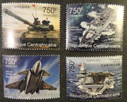 Central African Republic 2012 chinese militaria tanks aviation flat top ships set of 4 mnh