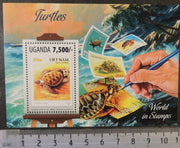 Uganda 2013 turtles reptiles stamp on stamp art s/sheet mnh
