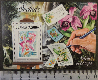 Uganda 2013 orchids flowers stamp on stamp  art s/sheet mnh