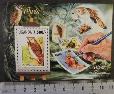 Uganda 2013 owls birds of prey stamp on stamp s/sheet mnh
