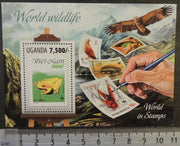Uganda 2013 world wildlife frogs amphibians insects birds of prey stamp on stamp s/sheet mnh