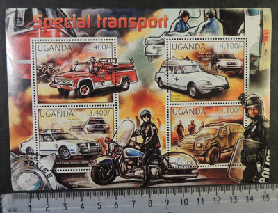 Uganda 2012 special transport cars motorcycles emergency services fire engine m/sheet mnh