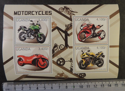 Uganda 2012 transport motorcycles m/sheet mnh