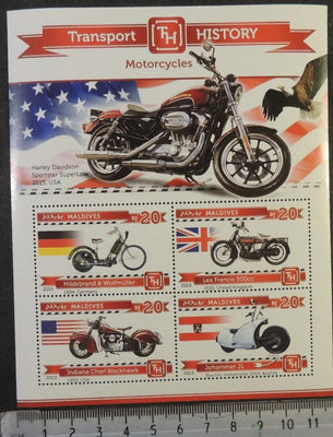 Maldives 2015 transport history motorcycles davidson flags eagles birds of prey m/sheet mnh