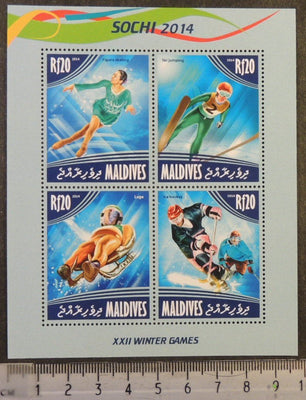 Maldives 2014 sochi sport winter olympics ski jumping ice skating luge hockey m/sheet mnh