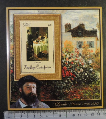 Central Africa 2011 claude monet art children women flowers breakfast food paintings s/sheet mnh #8