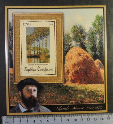 Central Africa 2011 claude monet art trees paintings s/sheet mnh #9