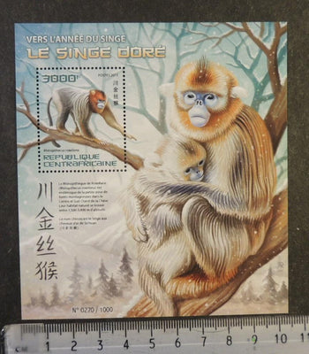 Central Africa 2015 lunar new year of the monkey apes s/sheet mnh