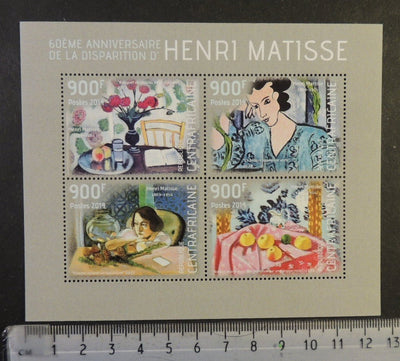 Central Africa 2014 henri matisse art paintings women fish flowers fruit m/sheet mnh
