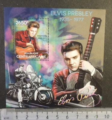 Central Africa 2014 elvis presley cinema music motorcycles s/sheet mnh