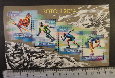 Central Africa 2014 sport olympics sochi skiing snowboard speed skating ice dancing m/sheet mnh