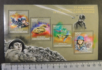 Central Africa 2014 ww2 wwii battles ardennes tanks aviation militaria m/sheet mnh