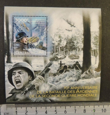Central Africa 2014 ww2 wwii battles ardennes tanks aviation militaria s/sheet mnh