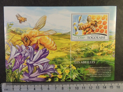 Togo 2015 bees insects flowers honeycomb food s/sheet mnh