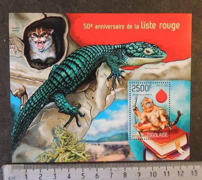 Togo 2014 red list animals apes cats reptiles s/sheet mnh