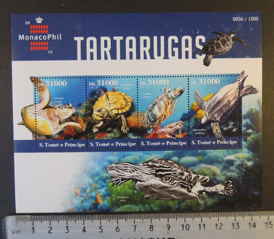 St Thomas 2015 turtles reptiles marine life monacophil stamp exhibition m/sheet mnh
