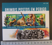 St Thomas 2015 animals in danger tigers cats apes lemur m/sheet mnh