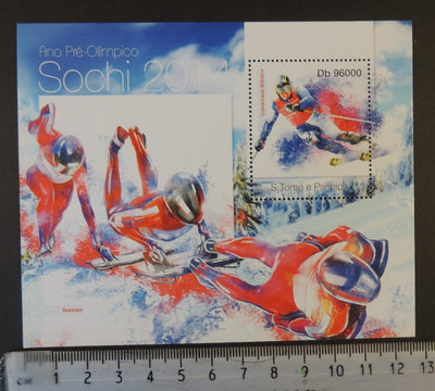 St Thomas 2013 sochi winter olympics skeleton slalom skiing sport s/sheet mnh