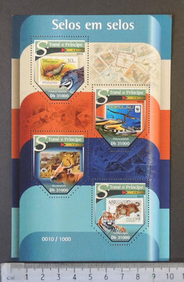St Thomas 2015 stamp on stamp birds reptiles cats tigers animals m/sheet mnh