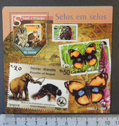 St Thomas 2015 stamp on stamp birds owls apes butterflies insects elephants animals s/sheet mnh