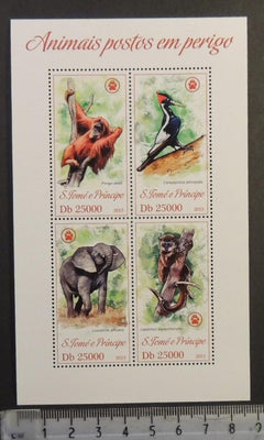 St Thomas 2013 endangered animals apes birds elephants m/sheet mnh