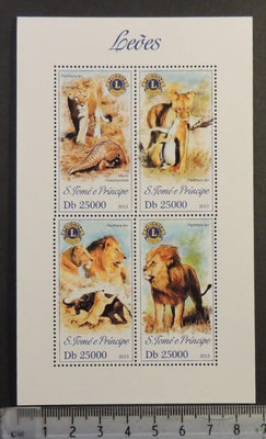 St Thomas 2013 lions club rotary big cats animals m/sheet mnh