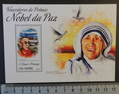 St Thomas 2013 nobel peace prize mother teresa religion buddhism dalai lama birds s/sheet mnh