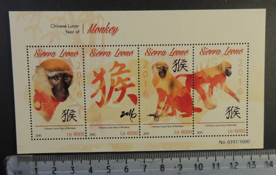Sierra Leone 2015 lunar new year monkey apes animals m/sheet mnh