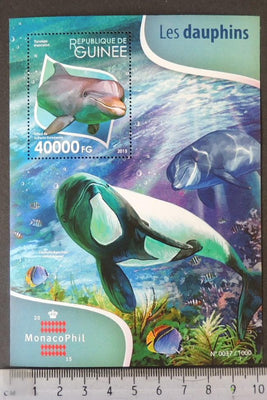 Guinea 2015 dolphins marine life mammals moncaophil s/sheet mnh