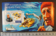 Guinea 2015 jacues-yves cousteau scuba ships submarine smoking s/sheet mnh