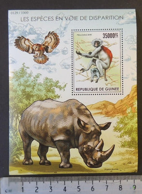 Guinea 2015 endangered species rhino apes animals owls birds of prey s/sheet mnh