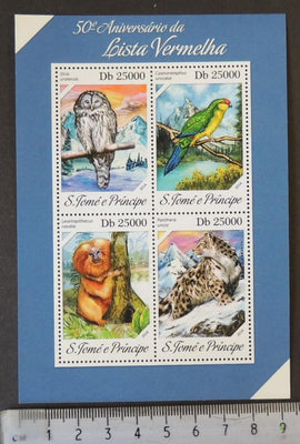 St Thomas 2014 red list birds parrots owls birds of prey apes big cats endangered animals m/sheet mnh