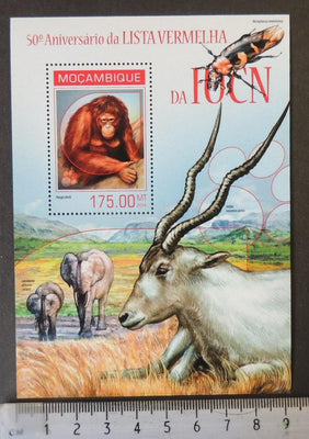 Mozambique 2014 red list endangered animals elephants apes insects beetles s/sheet mnh