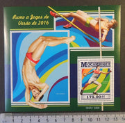 Mozambique 2015 brazil olympics sport pole vault diving handball m/sheet mnh