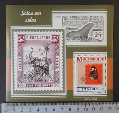 Mozambique 2015 stamp on stamp philatelic apes elephants animals seals s/sheet mnh